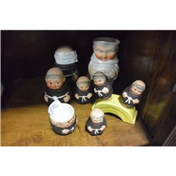 COLLECTION OF MONK FIGURE CONDIMENT PIECES