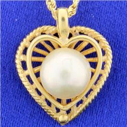 Heart Pendant with Pearl and chain