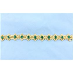 Fabulous Victorian Design Emerald and Diamond Bracelet in 14k Gold