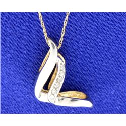 Diamond tutone pendant with chain