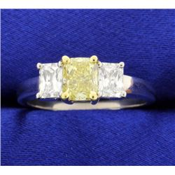 1.01 carat Fancy Yellow diamond ring