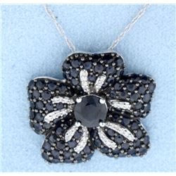 Sapphire and Diamond pendant with chain