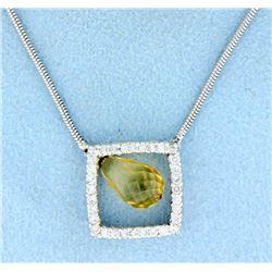Lariat Diamond Necklace with Citrine
