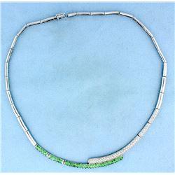 Diamond & Tsavorite necklace