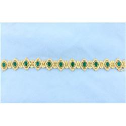 Fabulous Victorian Design Emerald and Diamond Bracelet in 14k Gold