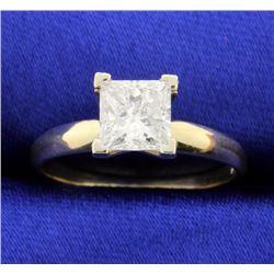 1.26 carat Princess cut solitaire engagement ring