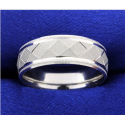 Platinum Unique Engraved Pattern Wedding Band Ring