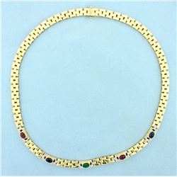 Ruby, Sapphire, Emerald, and Diamond Cabochon Necklace