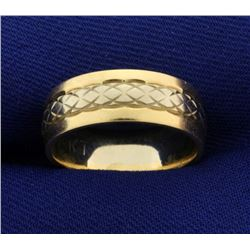6.5mm White and Yellow Gold Wedding Band