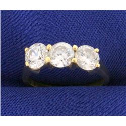 1 1/2ct 3 Stone CZ Ring in 14k Gold