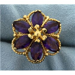 Large Flower Amethyst Ring