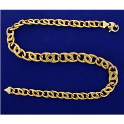 Italian Made 17 Inch Overlapping Anchor Link Neck Chain