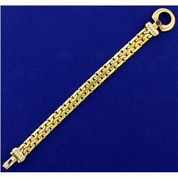 18k Gold Designer C Link Bracelet with Ruby