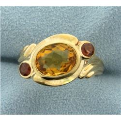 Citrine and Garnet Ring