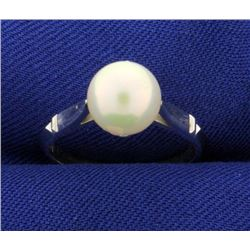 14k White Gold Solitaire Pearl Ring