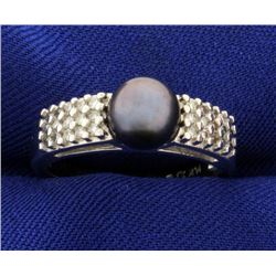 Diamond and Black Pearl Ring