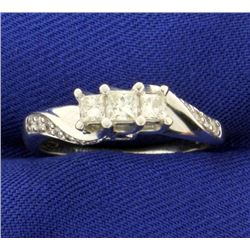 1/2ct TW Princess cut 3 Stone Diamond Ring