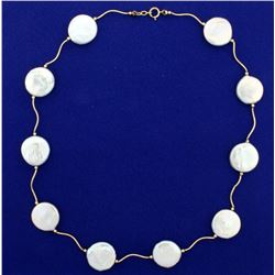 Natural Mother of Pearl Necklace in 14k Gold