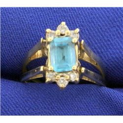 Reversible Diamond and Blue Topaz Ring in 14k Gold