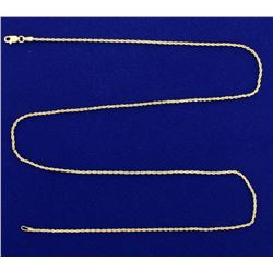 22 Inch Rope Style Neck Chain in 14k Gold