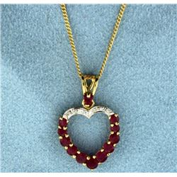 Ruby and Diamond Heart Pendant on 14k Gold Chain