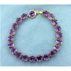 Amethyst and Diamond Bracelet in 14k Gold