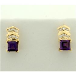 Amethyst and Diamond Earrings in 14k Gold