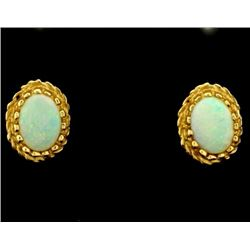 Vintage Opal Stud Earrings in 14k Gold
