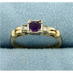 Vintage Amethyst and Diamond 14k Yellow and White Gold Ring