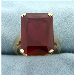 Very Large 13ct Emerald Cut Ruby Ring