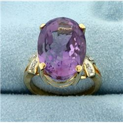13ct Huge Amethyst and Diamond Statement Ring in 14k Gold