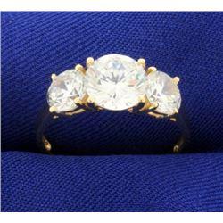 3.5ct TW Three Stone CZ Ring in 14k Yellow Gold