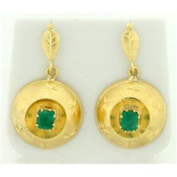 1ct TW Drop Dangle Emerald Earrings in 14k Gold