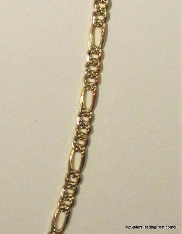 14K Yellow Italian Gold Figaro Neck Chain Stamped 14 KT
