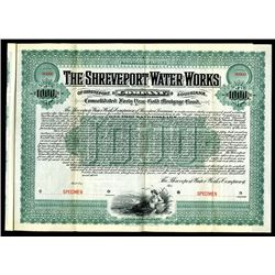 Shreveport Water Works Co., 1903 Specimen Bond