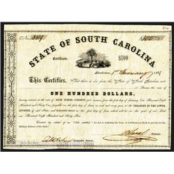 State of South Carolina, 1861 Issued Bond