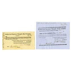 Bedford and Stoystown Turnpike Road Co., ca.1819-1831 Issued Stock Certificates