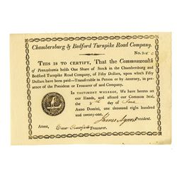 Chambersburg and Bedford Turnpike Road Co., 1821 Issued Stock