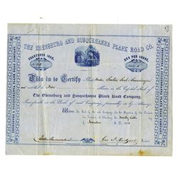 Ebensburg and Susquehanna Plank Road Co., 1853 Issued Stock