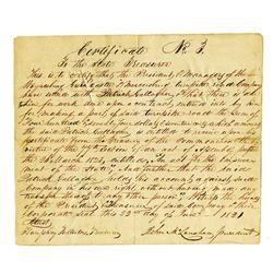 Green Castle and Mercersboro Turnpike Road Co., 1821 Hand Written Warrant..