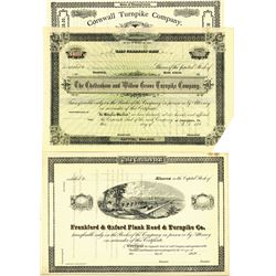 Lot of Pennsylvania Turnpike Stock Certificates, ca.1850-1890 Specimen Stocks