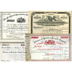 Lot of Pennsylvania Turnpike Stock Certificates, ca.1876-1909