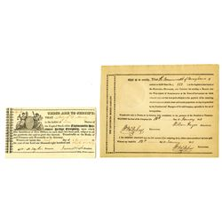 Pennsylvania Turnpike and Bridge Pair of Stock Certificates, ca.1820-1833 Issued Stocks