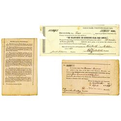 Pennsylvania Turnpike Pair of Stock Certificates, ca.1820-1858 Issued Stocks