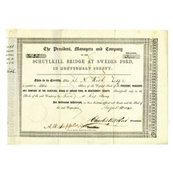 Schuylkill Bridge at Swedes Ford, 1850 Issued Stock