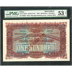 Hong Kong & Shanghai Banking Corporation, 1923 Specimen Banknote.