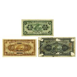 Sino-Scandinavian Bank, 1922 Issue Banknote Trio.
