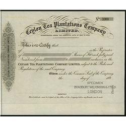 Ceylon Tea Planters Company Ltd., ca.1890-1900 Proof Certificate