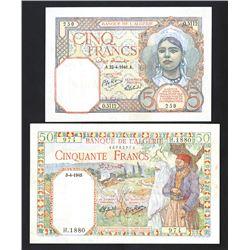 Banque de L'Algerie, 1941-1945, Pair of Banknotes