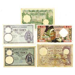 Banque de l'Algerie. 1925-64 Issues.